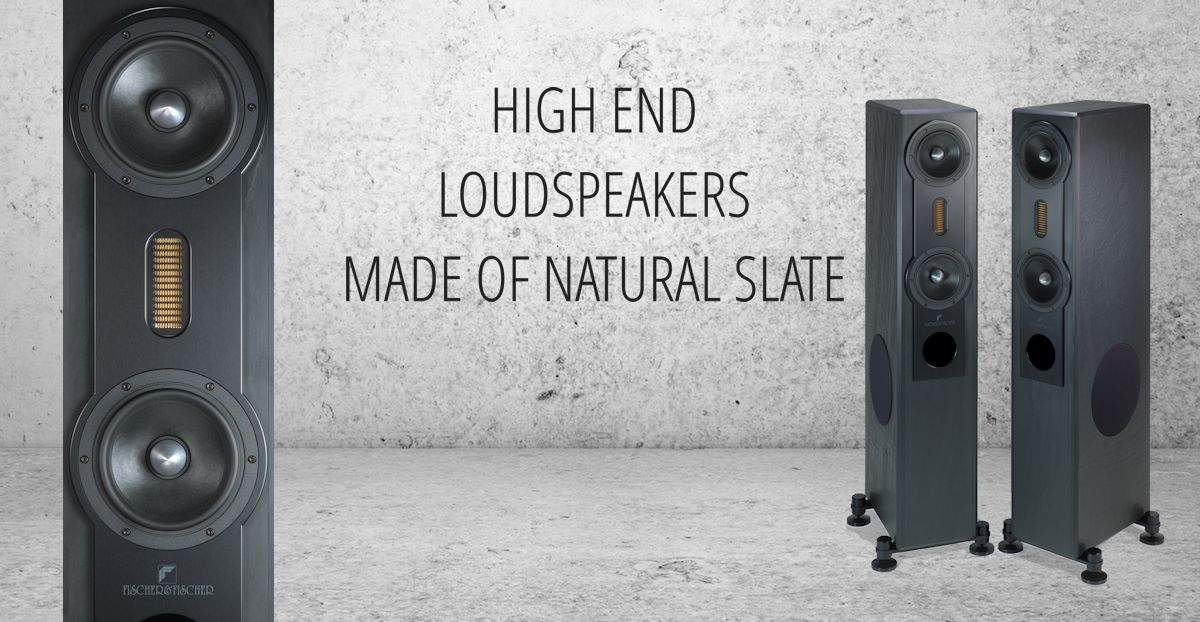 High end loudspeakers made of natural slate